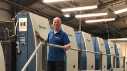 Map Printing - Keith Vranch with KBA machine