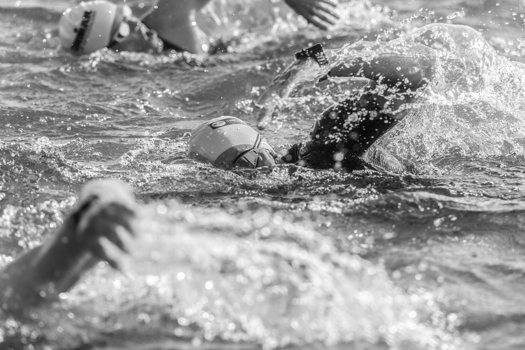 Triathlon - competitors swimming