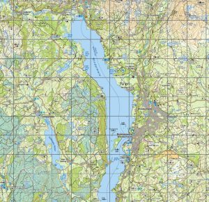Map of Windermere showing contour lines