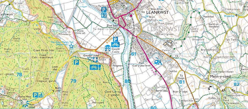 OS Map symbols shown on map
