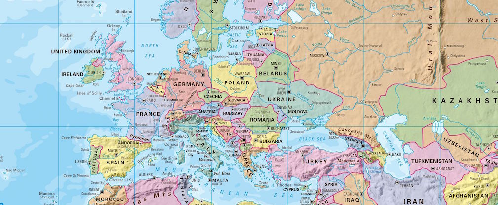 Wall Map - Europe and Russia map