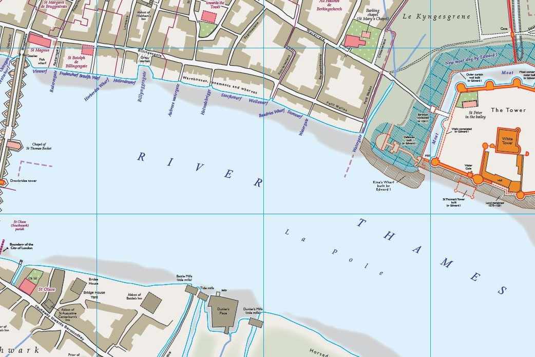 Medieval London Map - River Thames with The Tower